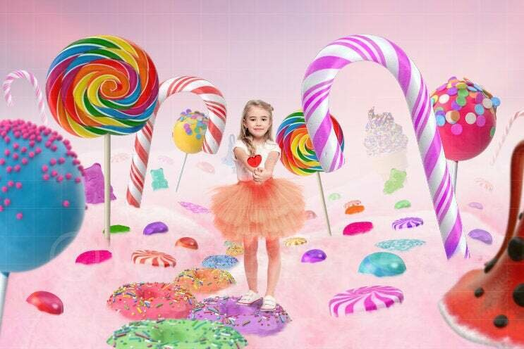 Valentines Digital Background - Candy Land Digital Background / Backdrop