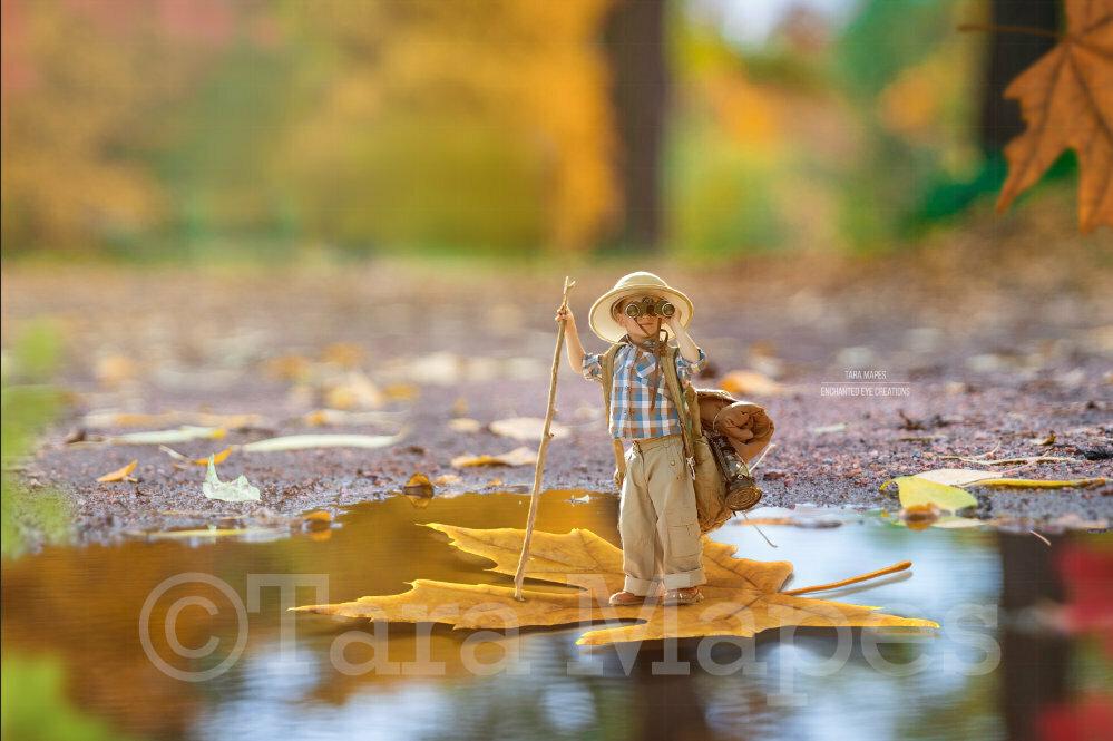 Leaf Boat in Forest in Autumn Digital Background Backdrop