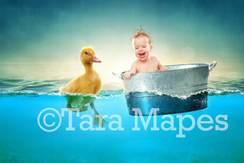 Duck in Ocean Bath Digital Background / Backdrop