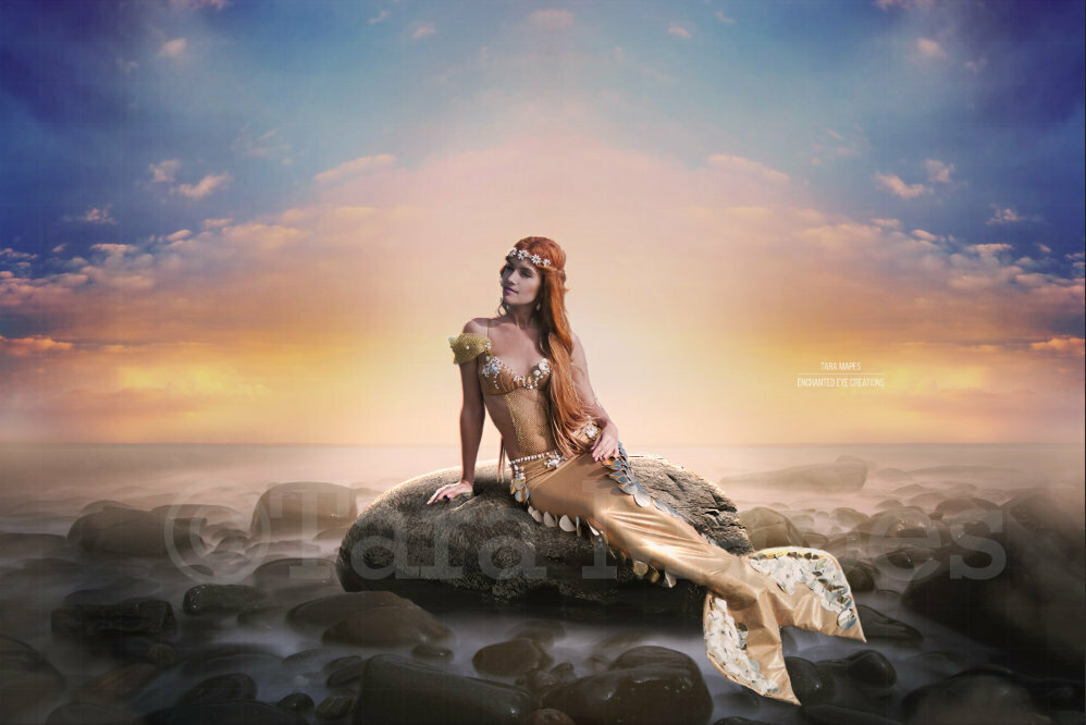 Mermaid on a Rock at Pastel Sunset Digital Background Backdrop