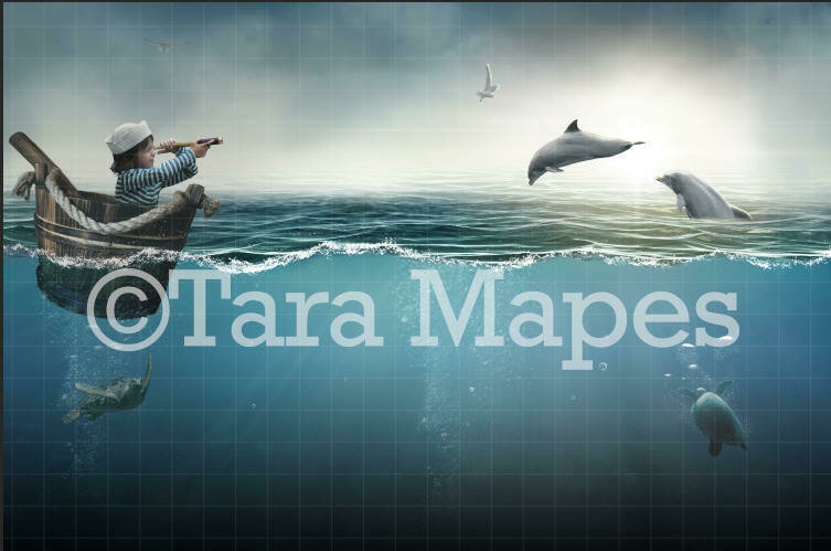 Dolphins and Turtles in the Sea Digital Background