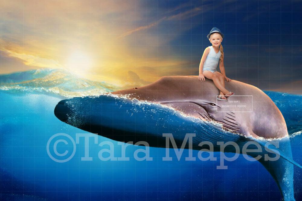 Whale in Ocean Digital Background / Backdrop