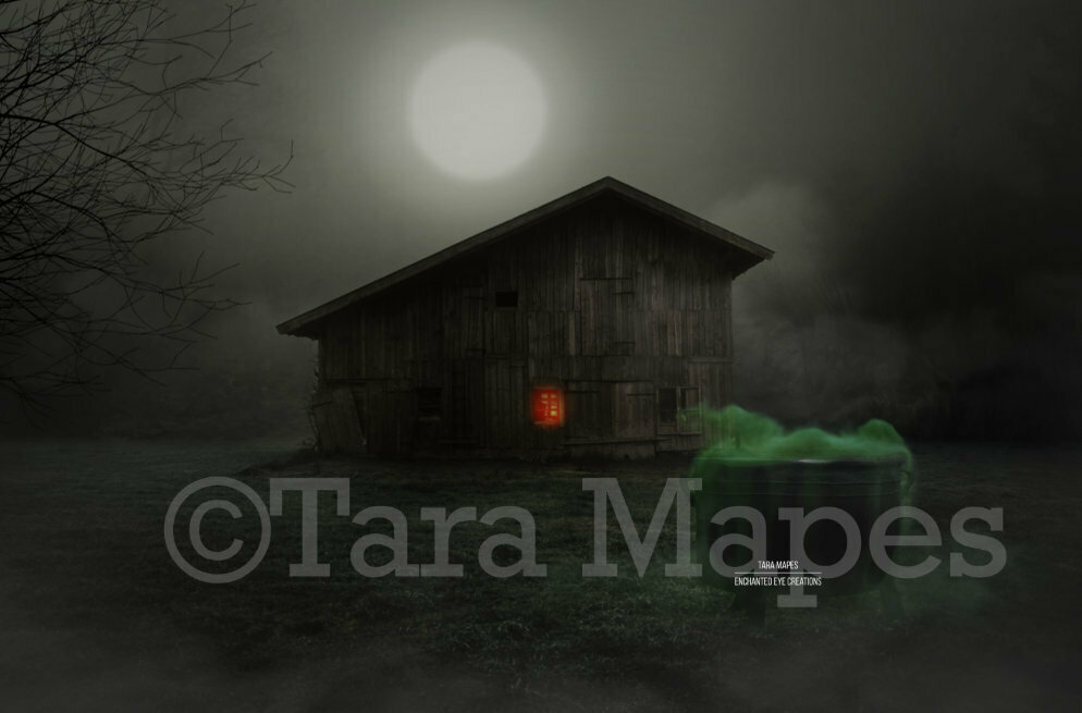 Witch's Cabin in Foggy Field with Cauldron Halloween Witch Digital Background / Backdrop