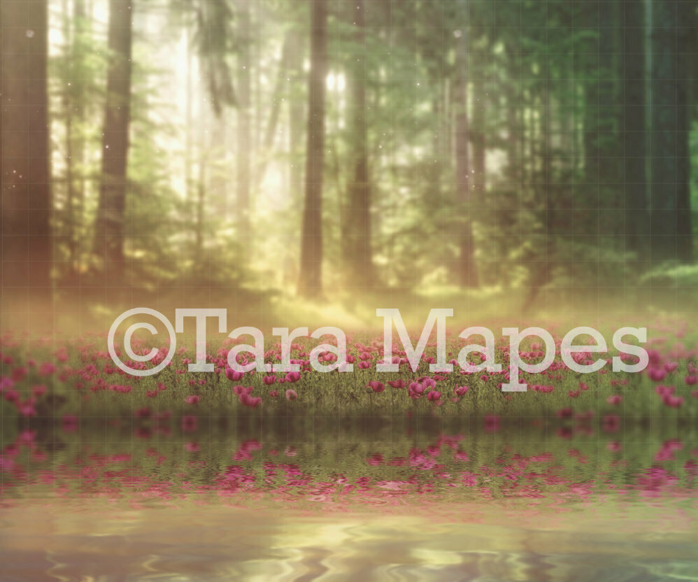 Field of Flowers by by Lake  - Lake in Field of Violet Flowers-  Creamy Background- Digital Background Backdrop