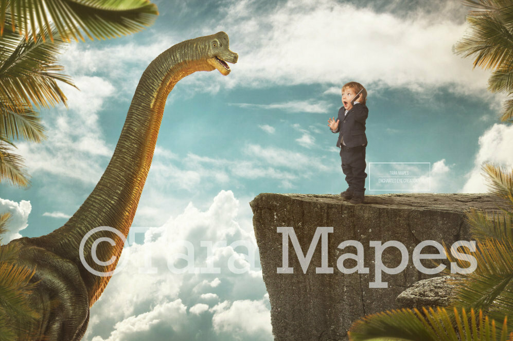 Smiling Dinosaur on a Cliff Digital Background / Backdrop