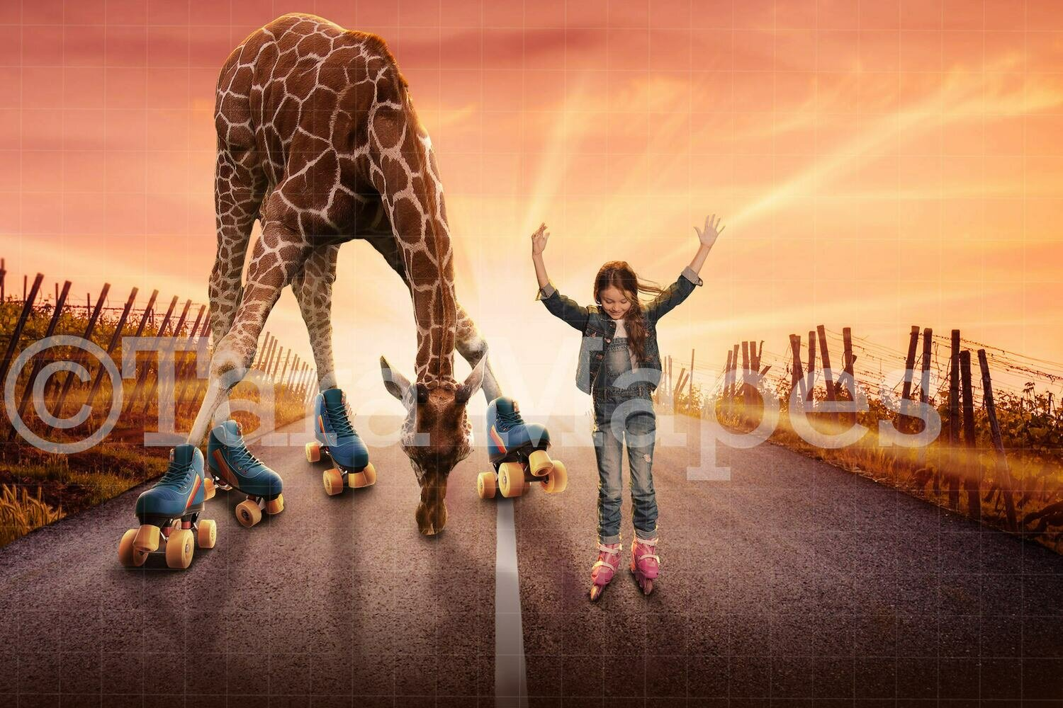 Giraffe Rollerskating Digital Background