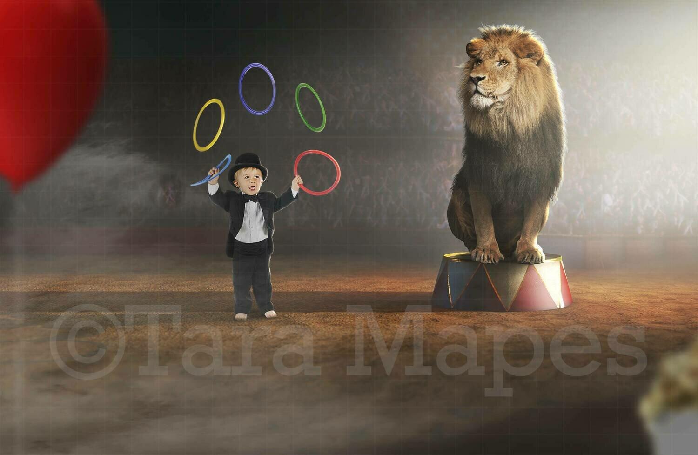 Circus Lion Ringmaster Digital Background