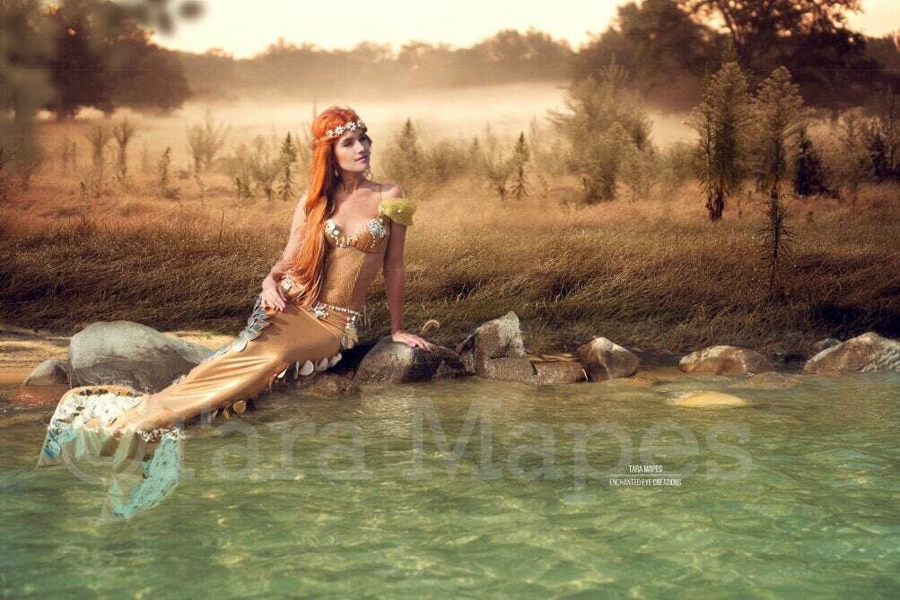 Freshwater Mermaid Scene - Lake Shore Rock in Lake at Sunset Creamy Foggy Digital Background / Backdrop