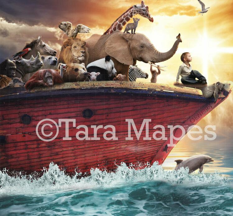 Noah's Ark Religious Digital Background / Backdrop