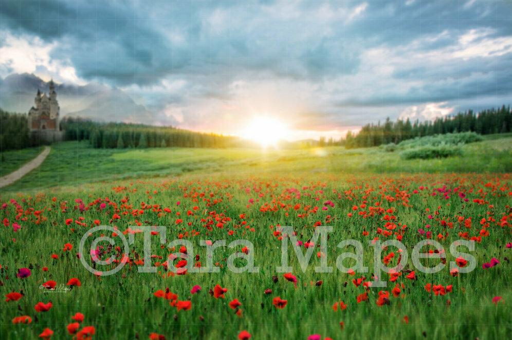 Castle Field of Flowers Digital Background / Backdrop