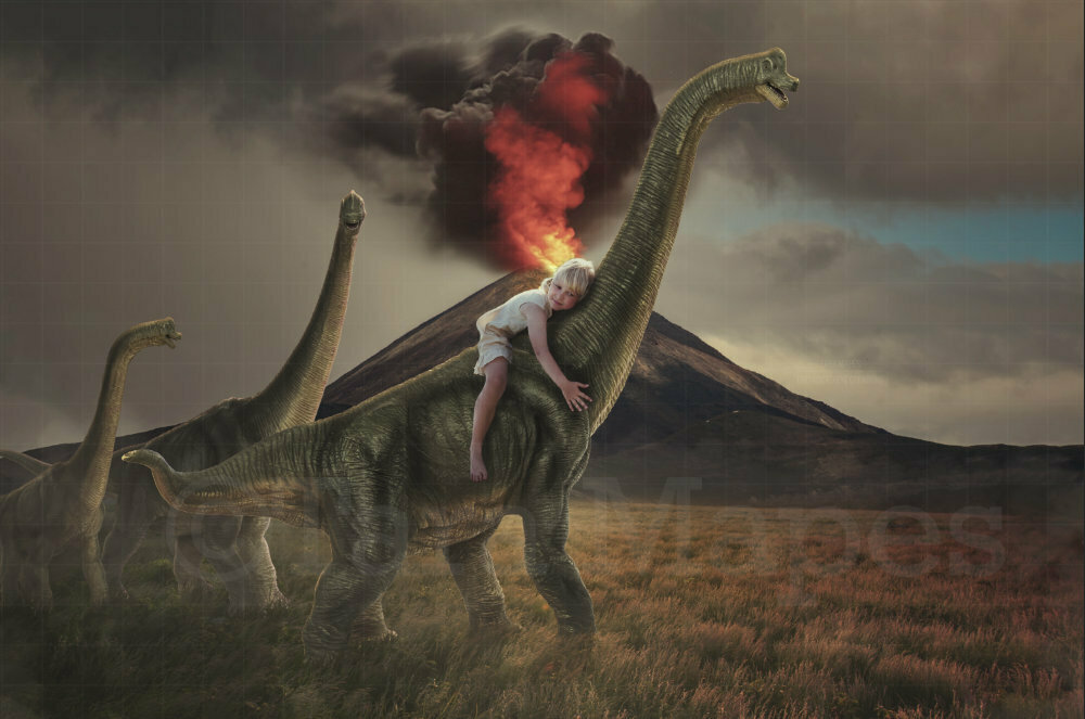 Dinosaurs by Erupting Volcano in Field Digital Background