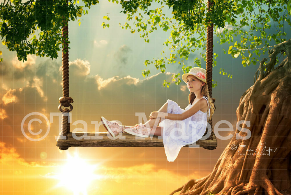 Swing on Tree at Sunset Digital Background