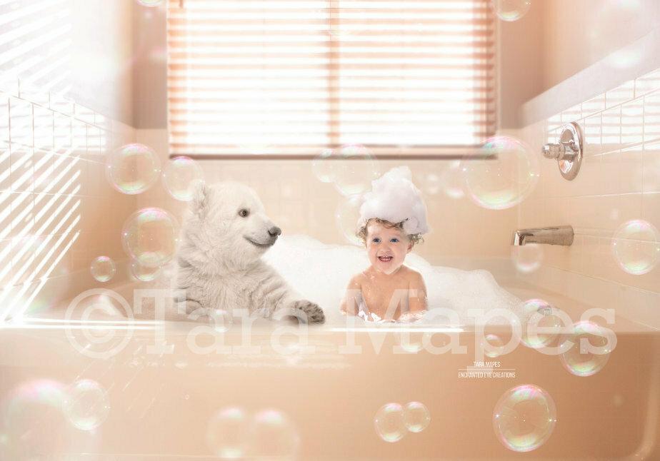 Polar Bear Cub in Bathtub- Polar Bear Bathtime- Bear in Tub -  Digital Background Backdrop