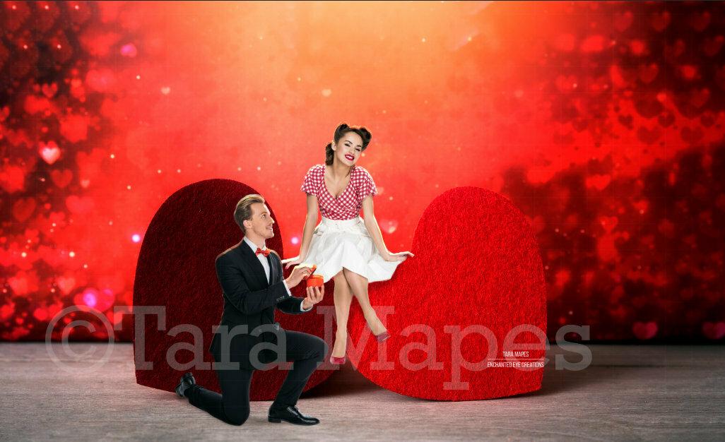 Hearts Digital Background - Valentine's Digital Background -Creamy Red - Anniversary - Valentine Background - Wedding Love - Couples Engagement - Digital Background / Backdrop