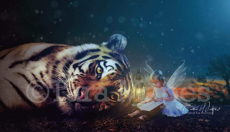 Big Sleepy Tiger Digital Background