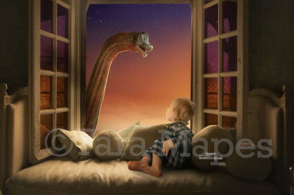 Smiling Dinosaur in Window Sunny Creamy Magical Digital Background Backdrop