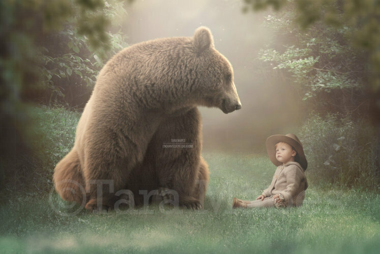 Bear on Magic Forest Path - Creamy Forest -Digital Background Backdrop