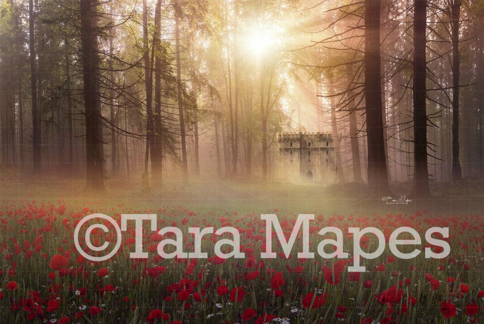 Castle in Woods by Field of Flowers Digital Background / Backdrop