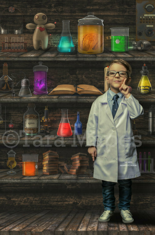 Science Lab Book Shelves -  Halloween- Magic Potions Specimens - Kid Friendly Fun Mad Scientist - Digital Background / Backdrop