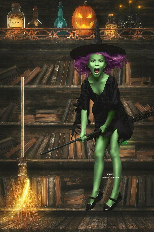 Halloween Spell Bookcase -  Spellbook Potions - Witch Halloween- Magic Broom Fun - Kid Friendly - Digital Background / Backdrop