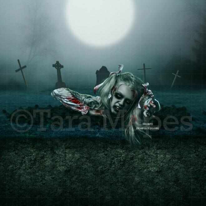 Grave Walker - Graves -  Cemetary - Halloween - Forest Graveyard - Grave Dirt Partition - Digital Background Backdrop
