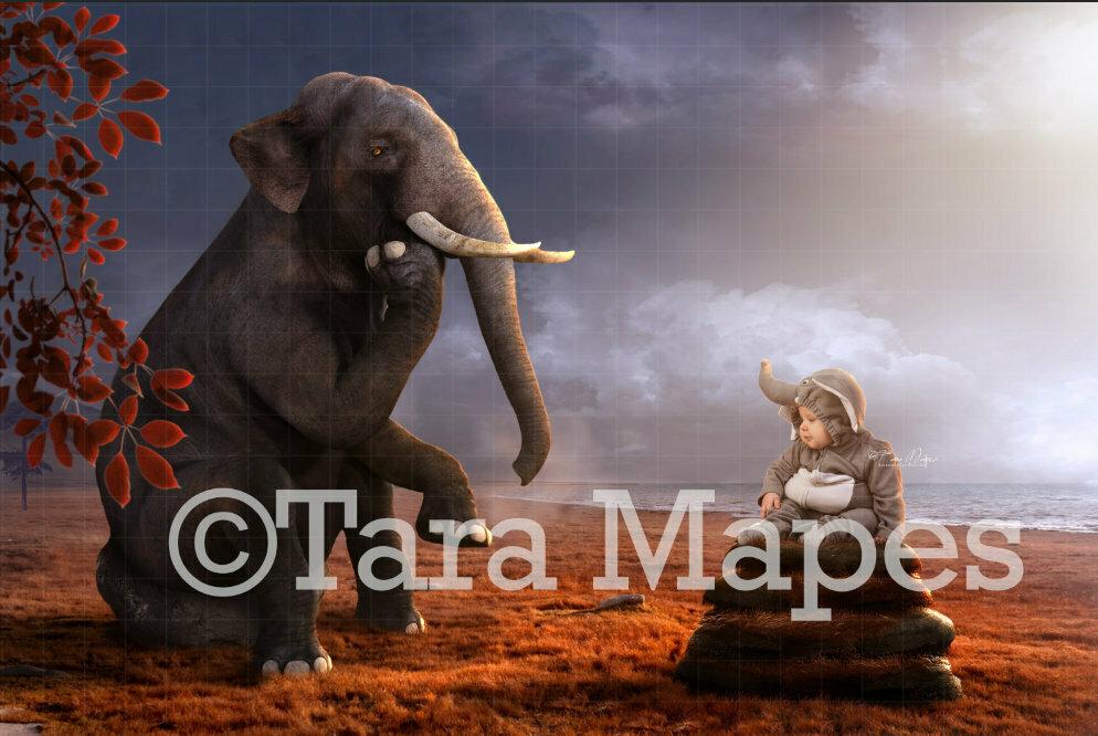 Elephant by Ocean Thinking Digital Background / Backdrop