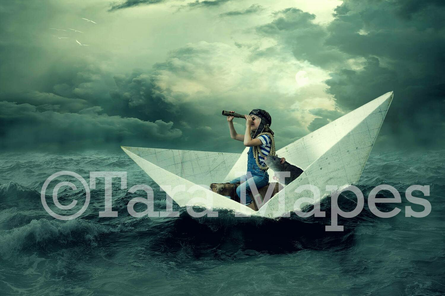 Paper Boat on Ocean Digital Background