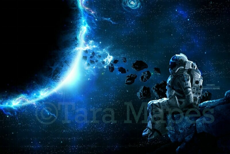 Astronaut -Space - Outerspace- Planets Digital Background Backdrop