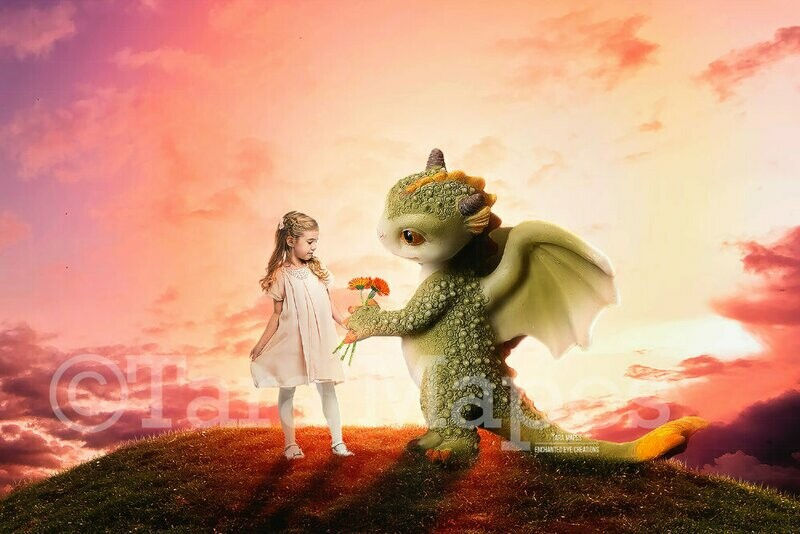 Baby Dragon on a Grassy Hill- Dragon Magic- Magical Dragon  Digital Background / Backdrop