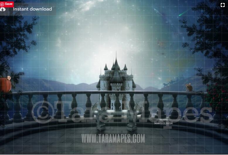 Balcony by Castle - Princess Balcony - Fairytale Moonlight Castle - Digital Background Backdrop Photoshop