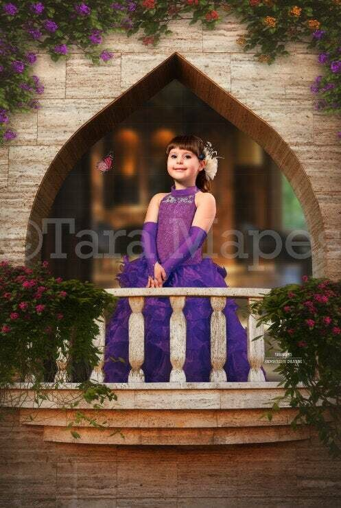 Balcony Castle Layered PSD - Princess Balcony -  Castle Balcony with Flowers - Magical Digital Background Backdrop