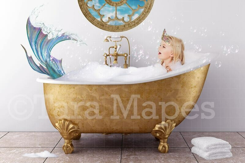 Bathtub Mermaid - Mermaid in Bath tub-  Digital Background Backdrop