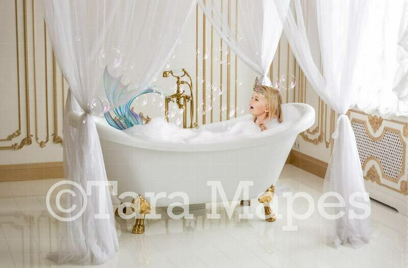 Bathtub Mermaid in Gold and White Luxury Bathroom Digital Background