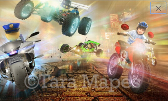 Video Game Toy Racing Motorcycle Digital Background / Backdrop
