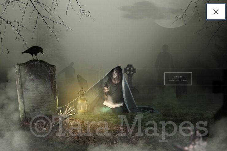Zombie Grave Graveyard Halloween Digital Background Backdrop