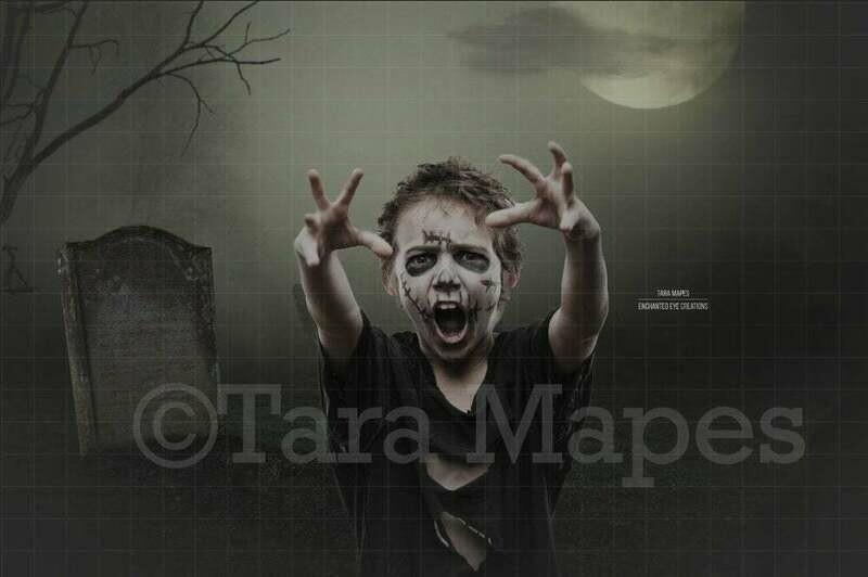 Zombie Walk in Graveyard Halloween Digital Background Backdrop