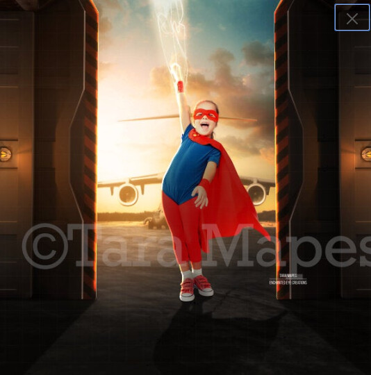 Super Hero in Hangar Airport Digital Background Backdrop