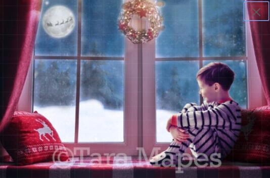 Christmas Window with Santa in Moon Digital Backdrop / Background