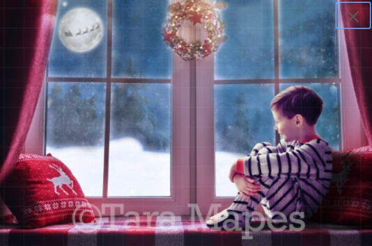 Christmas Window with Santa in Moon Digital Backdrop / Background