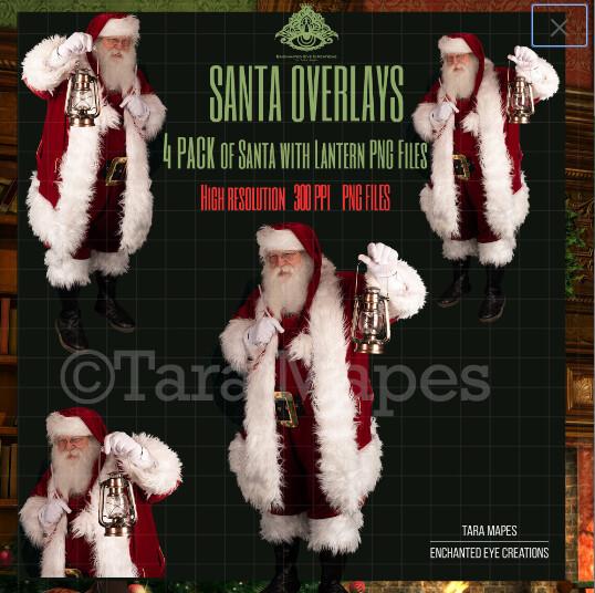 Santa Overlays 4 PACK PNG - Santa with Lanterns  - Santa Caught Cut Out  - Christmas Overlay - Santa PNG - Christmas Overlay