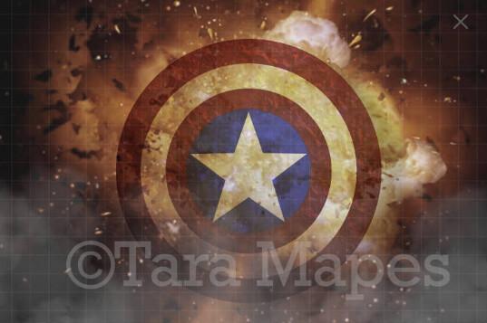 Superhero Shield Explosion - Explosion background - Digital Background
