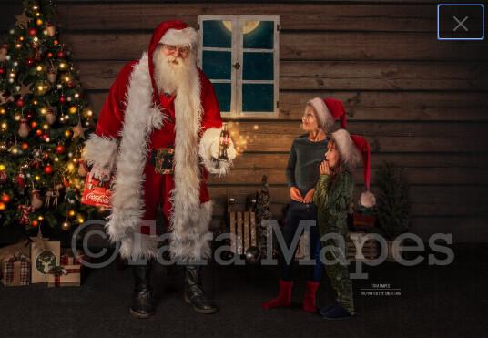 Santa surprise - Having a soda with santa- Cozy Christmas Holiday Digital Background Backdrop
