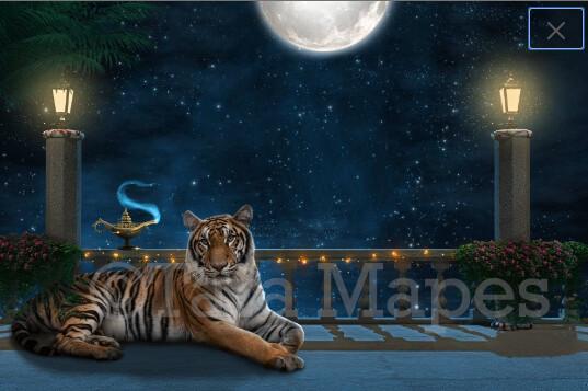 Balcony - Arabian Night - Big Tiger - Genie Lamp - Digital Background / Backdrop