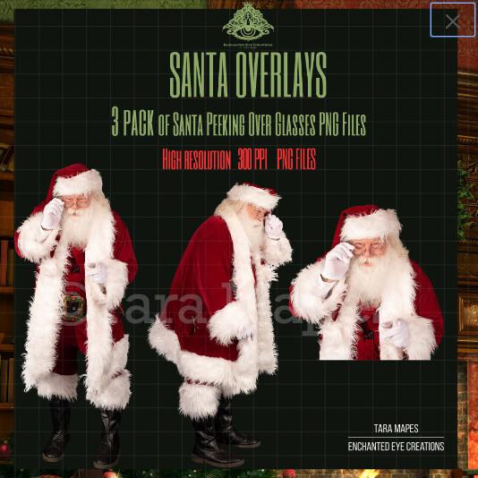 Santa Overlays 3 PACK PNG - Santa Peeking Over Glasses - Santa Cut Out  - Christmas Overlay - Santa PNG - Christmas Overlay
