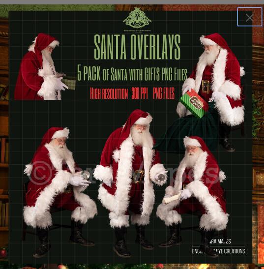 Santa Overlays 5 PACK PNG - Santa Giving Gifts - Magic Gifts - Santa Cut Out  - Christmas Overlay - Santa PNG - Christmas Overlay