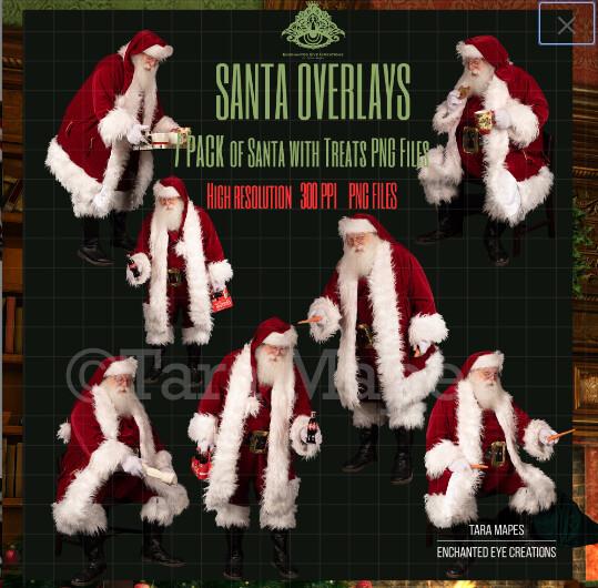 Santa Overlays 7 PACK PNG - Santa with Treats  -Santa PNGs - Santa Cut Out  - Christmas Overlay - Santa PNG - Christmas Overlay