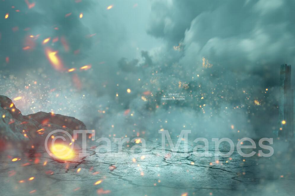Castle Ruins Earthquake Fire Dragon Scene Digital Background / Backdrop