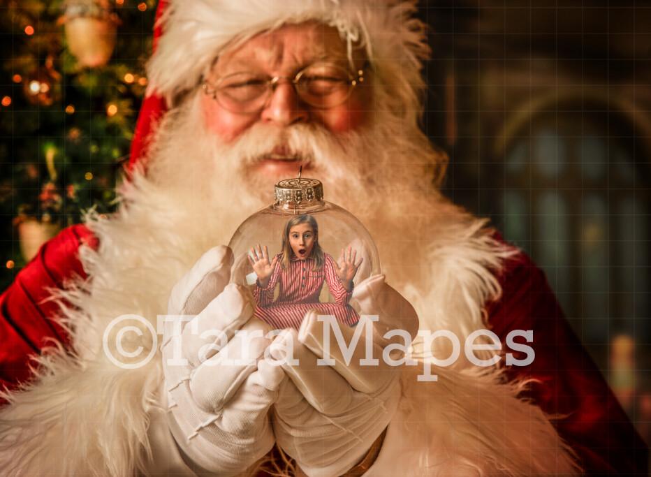 Santa's Ornament - Santa by Christmas Tree - LAYERED PSD! Santa by Tree with Ornament - Holiday Christmas Digital Background / Backdrop