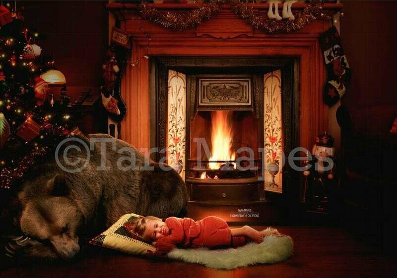 Bear under Christmas Tree Bear For Christmas Digital Background Backdrop