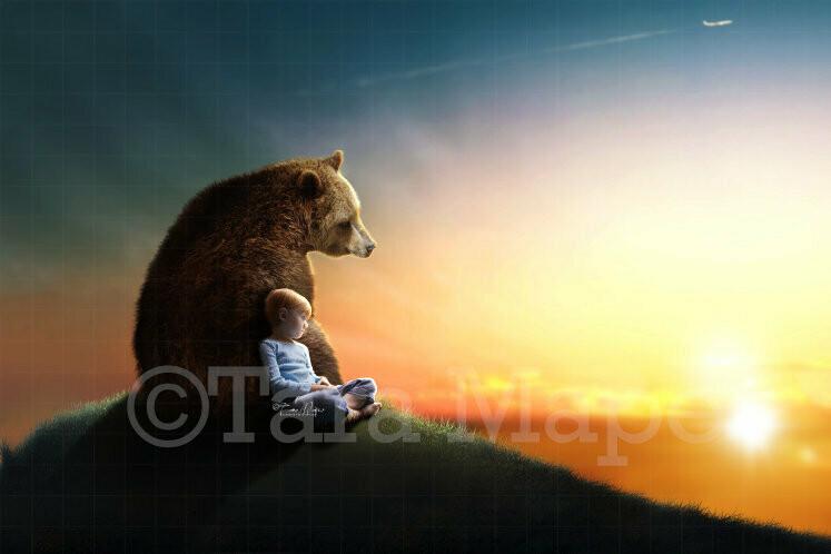 Bear on Hill Digital Background / Backdrop
